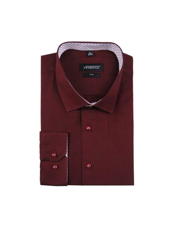 Jednofarebná bordová pánska košeľa.