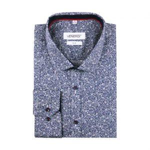 Modrobiela vzorovaná pánska košeľa