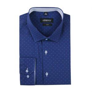Modrá pánska košeľa so vzorom