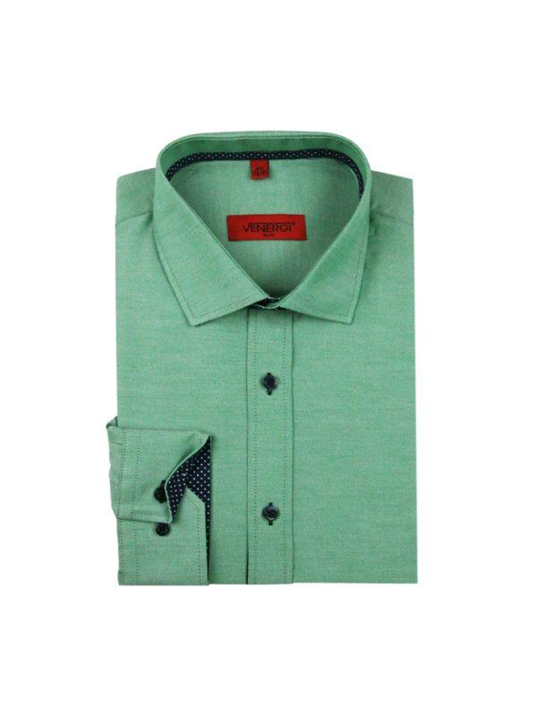 Zelená jednofarebná pánska košeľa