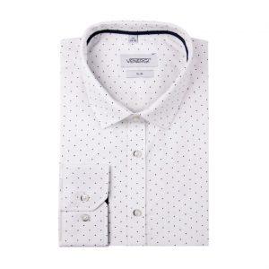 Biela pánska košeľa s bodkami