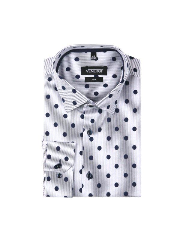 Modrá bodkovaná pánska košeľa