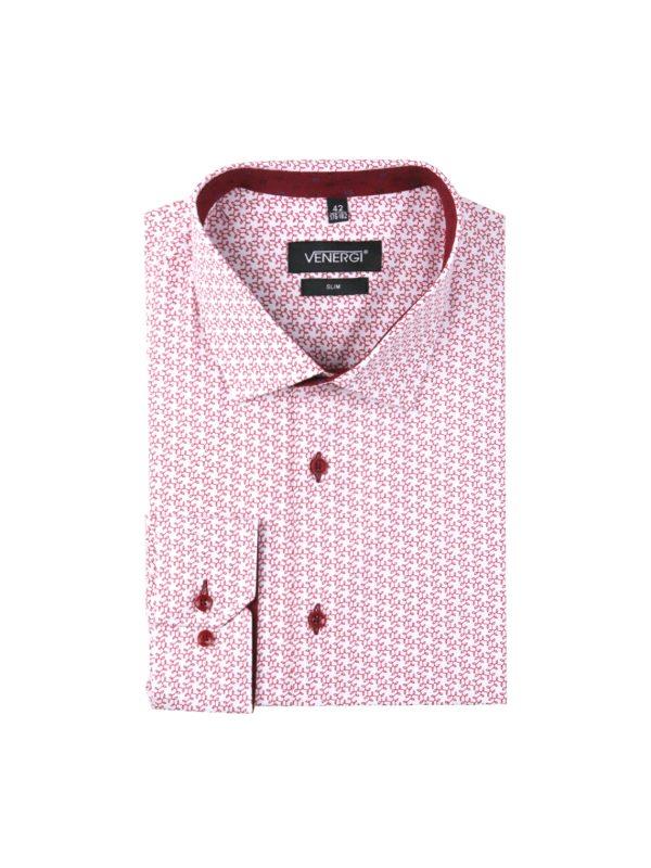 pánska košeľa s červeným vzorom
