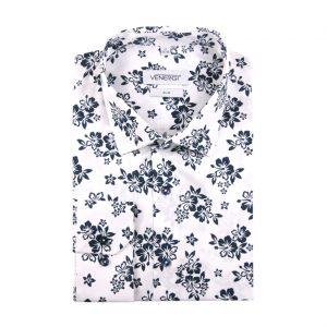biela pánska košeľa s kvetinovým vzorom