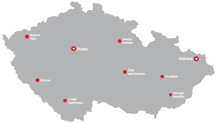 Mapa predajní Česko