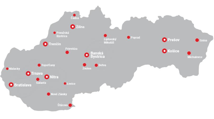 Mapa predajní Slovensko