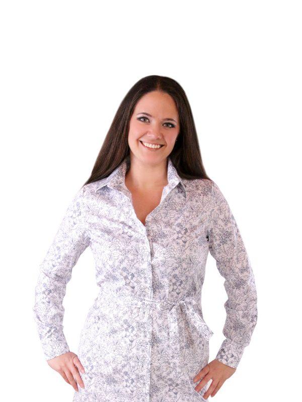 Dámske kvetinové košeľové šaty