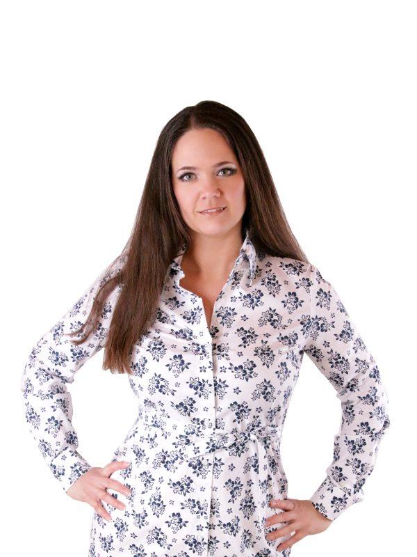 Dámske košeľové šaty s kvetinovým vzorom