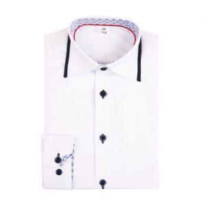 Biela detská košeľa s lemom na golieri