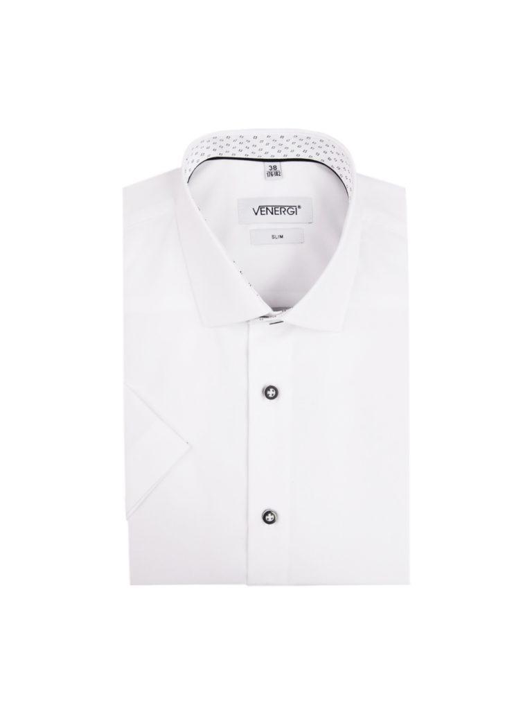 Biela pánska košeľa s krátkym rukávom a čiernobielymi gombíkmi