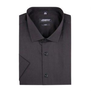 Tmavá jednofarebná pánska košeľa s krátkym rukávom