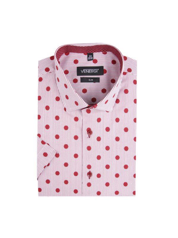 Červená bodkovaná pánska košeľa s krátkym rukávom