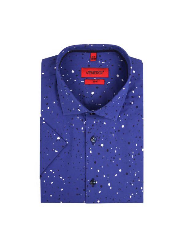 Modrá pánska košeľa s krátkym rukávom a potlačou