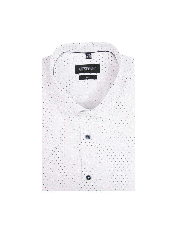 biela vzorovaná pánska košeľa s krátkym rukávom