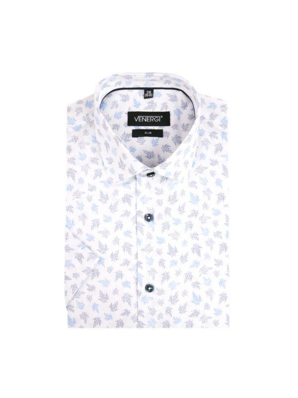 Vzorovaná pánska košeľa s krátkym rukávom a zaujímavou potlačou listov v dvojfarebnom prevedení.