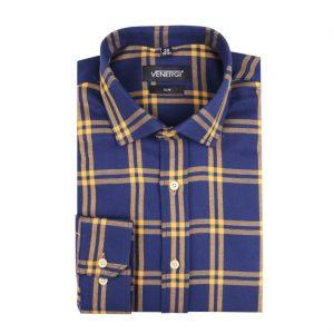 Modrožltá flanelová pánska košeľa