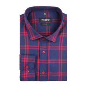 Modročervená flanelová pánska košeľa
