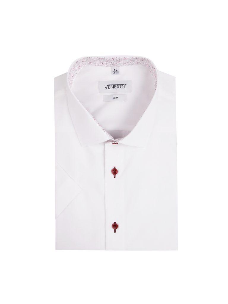 Biela pánska košeľa s krátkym rukávom a červenými gombíkmi