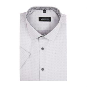 Sivá vzorovaná pánska košeľa s krátkym rukávom