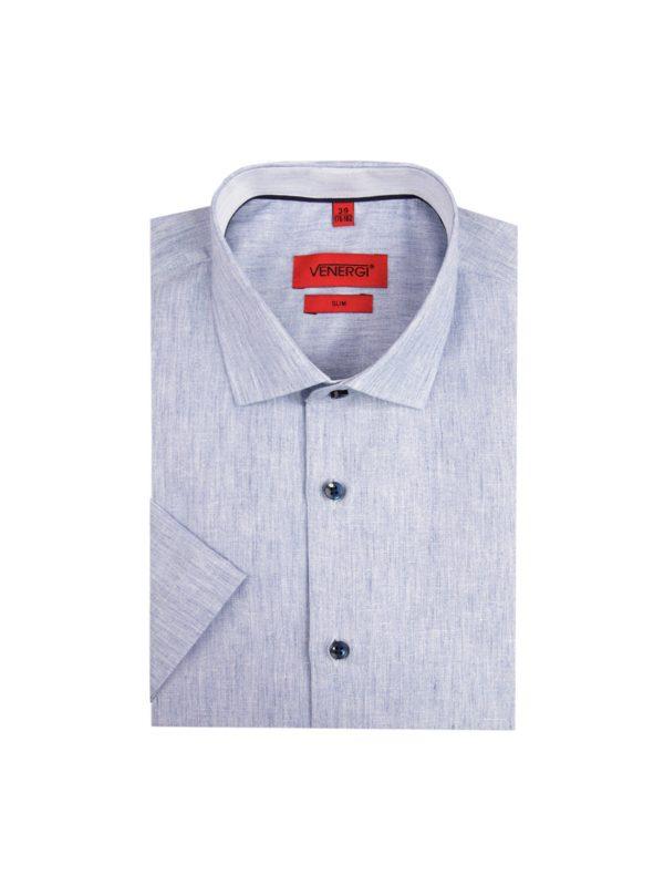 Modrá pánska košeľa s krátkym rukávom