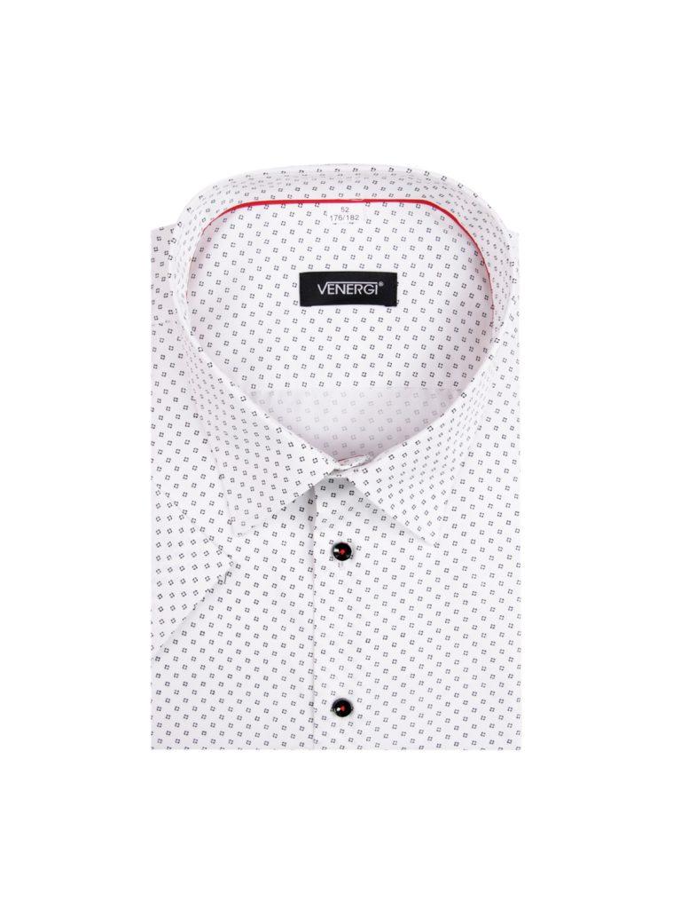 Biela pánska košeľa s krátkym rukávom a potlačou