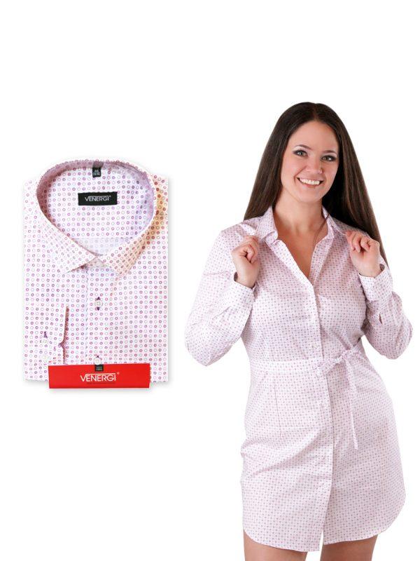 biela pánska bodkovaná košeľa a dámske bodkované košeľové šaty