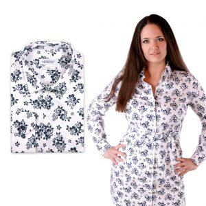 Kvetovaná pánska košeľa a dámske košeľové šaty