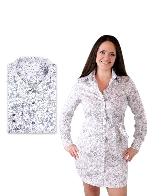 Biela pánska košeľa a dámske košeľové šaty s kvetinovým vzorom
