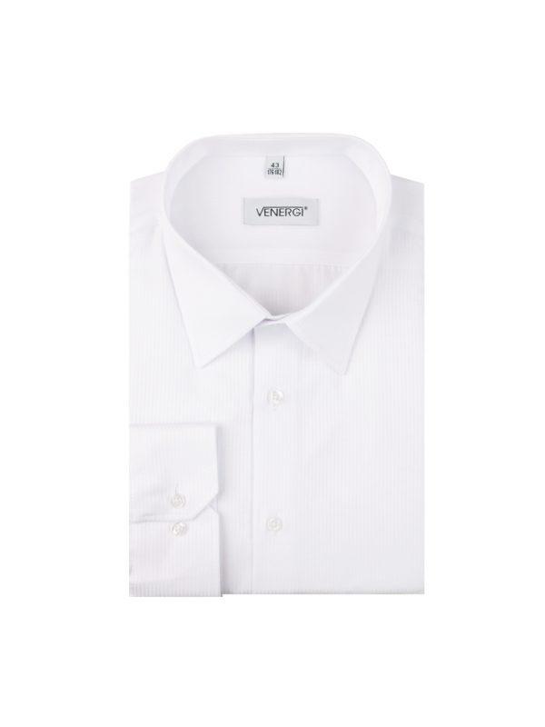 Biela klasická pánska košeľa s rovným prúžkom