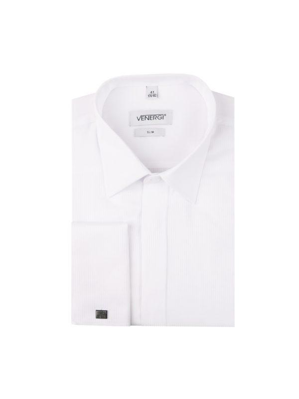 Biela pánska košeľa s prekrytými gombíkmi