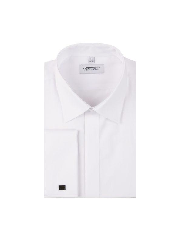 Biela pánska košeľa so šikmým prúžkom