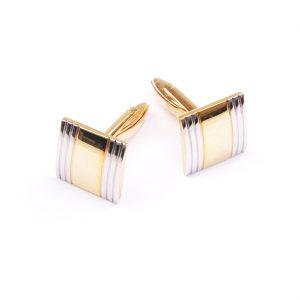 Strieborné manžetové gombíky so zlatým prúžkom