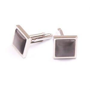 Streborné manžetové gombíky so sivou kockou